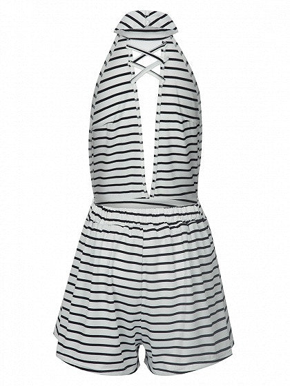 Monochrome Stripe Plunge Halter Backless Romper Playsuit