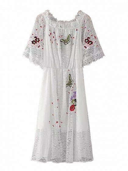 White Off Shoulder Embroidery Floral Sheer Lace Midi Dress