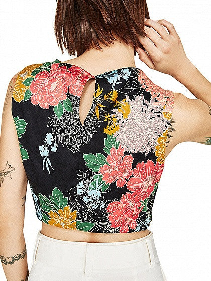 Polychrome Floral Wrap Front Crop Top