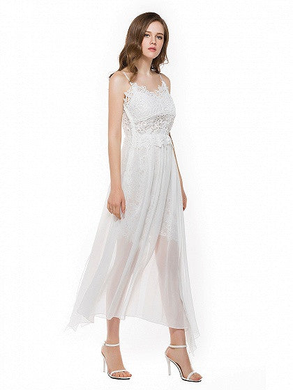 White V-neck Lace Panel Side Split Spaghetti Strap Low Back Long Dress