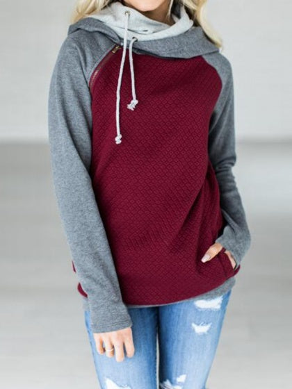 Burgundy Contrast Cotton Zip Front Long Sleeve Fleece Hoodie