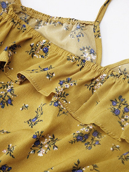 Yellow Floral Print Off Shoulder Ruffle Romper Playsuit