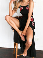 Black Embroidery Floral Backless Cami Crop Top and Split Maxi Skirt Set