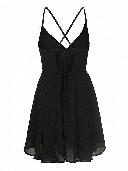 Black V Neck Cross Strappy Back Spaghetti Strap Skater Dress