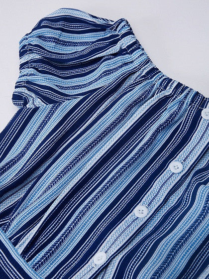 Blue Stripe Off Shoulder Button Up Tie Waist Maxi Beach Dress