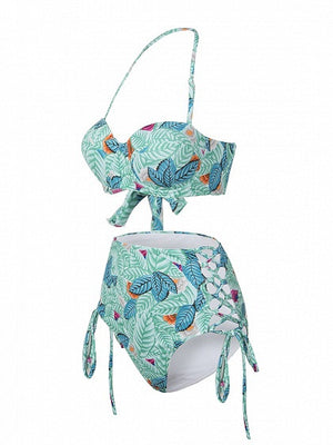 Green Leaf And Floral Printed Padded Side Lace Up Bikini Top And High Waist Bottom