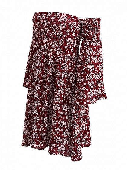 Burgundy Stretch Off Shoulder Floral Flared Bell Sleeve Mini Dress