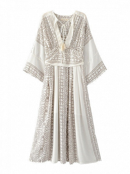White V-neck 3/4 Sleeve Lace Up Front Boho Maxi Dress