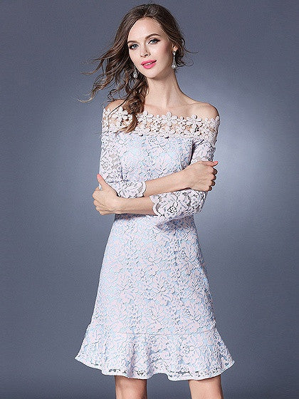 Pink Off Shoulder Ruffle Hem 3/4 Sleeve Crochet Lace Dress