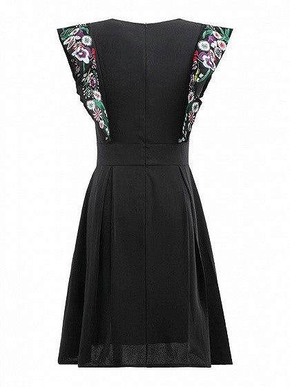 Black V-neck Embroidery Floral Ruffle Pleated Mini Dress