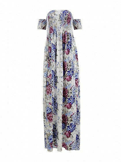 Floral Printed Stretch Off Shoulder Front Split High Waist Boho Maxi Dress