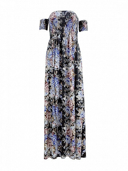 Polychrome Floral Printed Stretch Off Shoulder Front Split High Waist Boho Maxi Dress