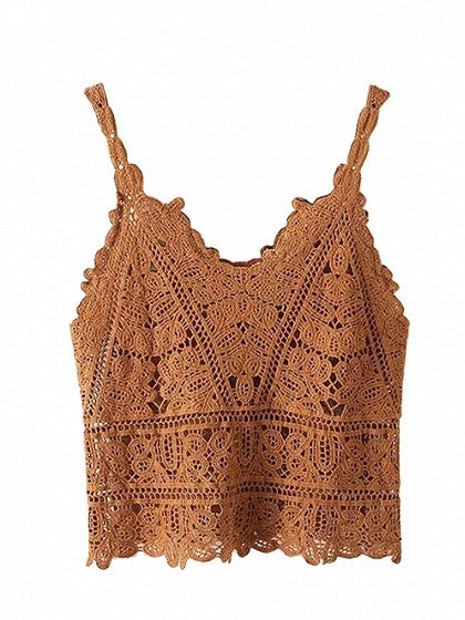 Khaki V-neck Lace Crop Top