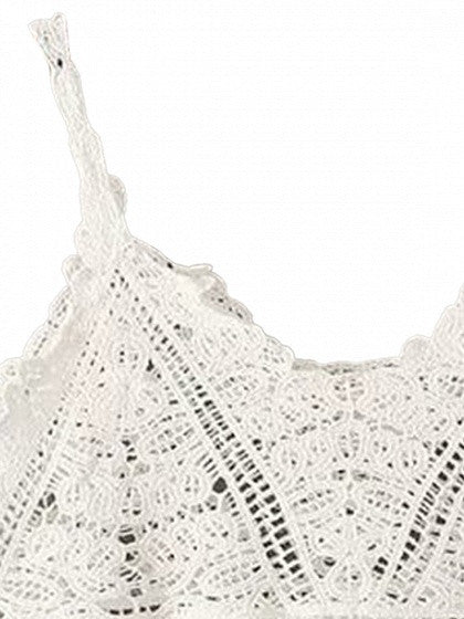 White V-neck Lace Crop Top