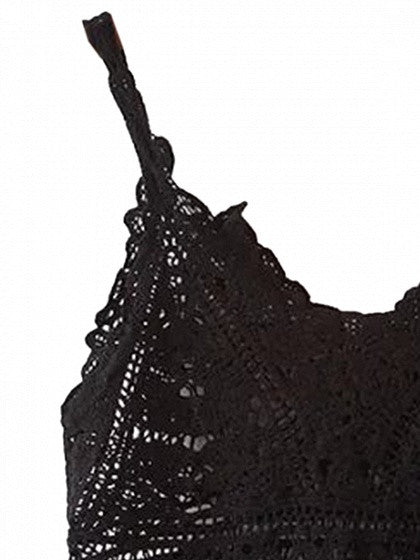 Black V-neck Lace Crop Top