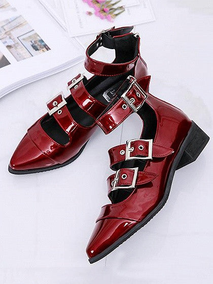 Burgundy Buckle Strap Pointed Toe Ankle Shoes