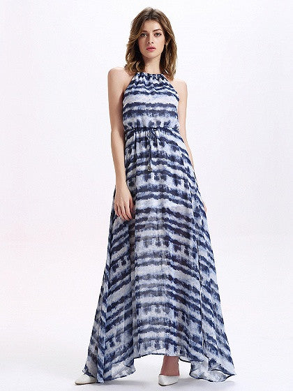 Blue Halter Tie Dye Thigh Split Maxi Chiffon Dress