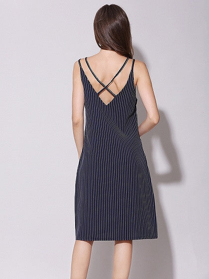 Navy Blue Stripe Cross Back Cami Dress