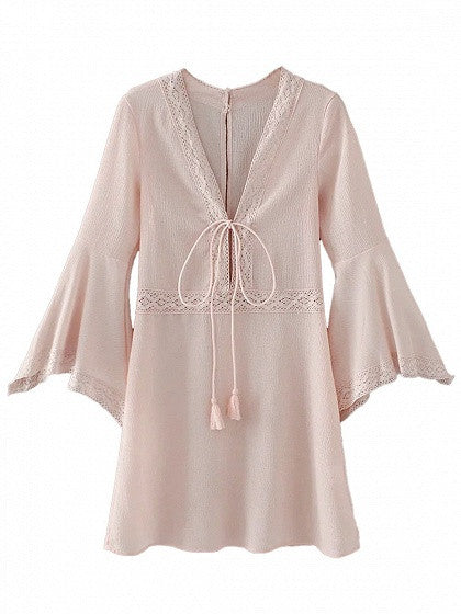 Pink Plunge V-neck Tie Front Lace Trim Flared Sleeve Mini Dress
