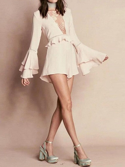 Pink Embroidery Mesh Panel Ruffle Flared Sleeve Romper Playsuit