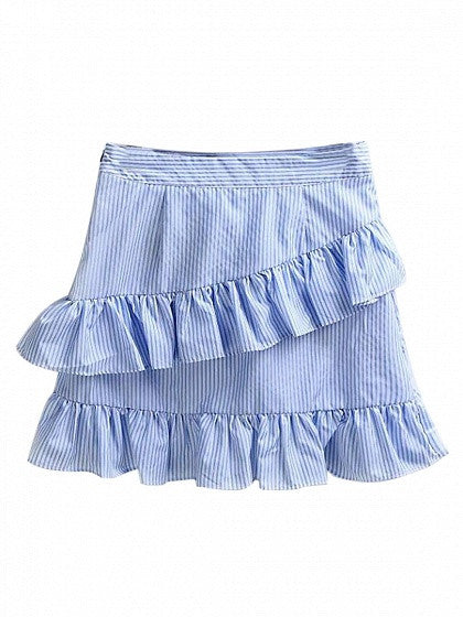 Blue Stripe Embroidery Detail Ruffle Layered Skirt