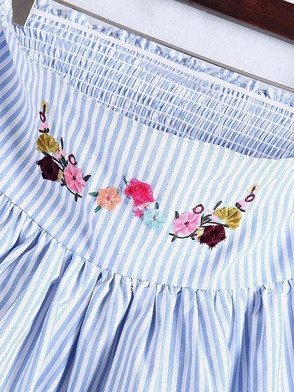 Blue Stripe Off Shoulder Bow Sleeve Embroidery Floral Blouse