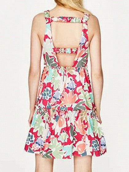 Polychrome Floral Cut Out Back Sleeveless Mini Dress