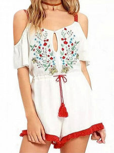 White Cold Shoulder Floral Embroidery Open Back Tie waist Romper Playsuit