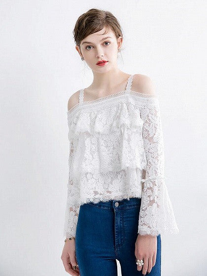 White Layer Ruffle Cold Shoulder Bell Sleeve Lace Top