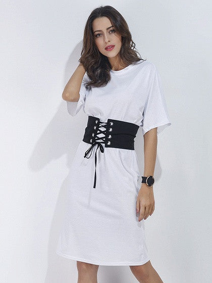 901d3c332b6b White Short Sleeve Corset Belt T-shirt Dress – MYNYstyle