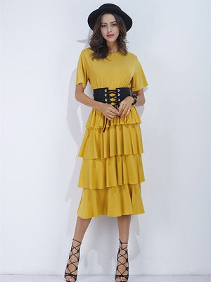Yellow Short Sleeve Corset Belt Layered Dress