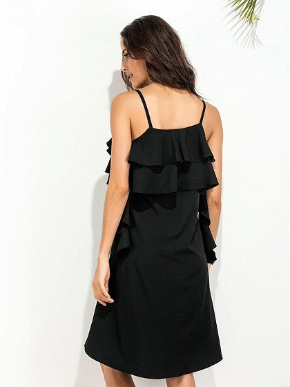 Black Spaghetti Strap Ruffle Dipped Hem Dress