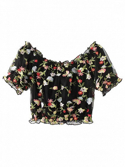 Black Off Shoulder Embroidery Floral Mesh Crop Top