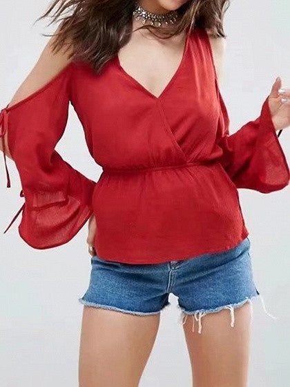 Red V-neck Cold Shoulder Tie Sleeve Blouse