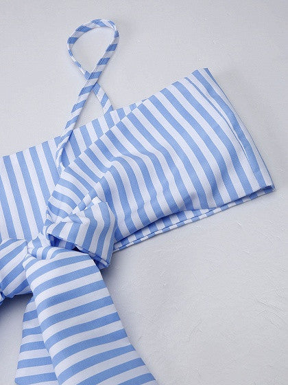 Blue Stripe Bow Front Spaghetti Strap Crop Top