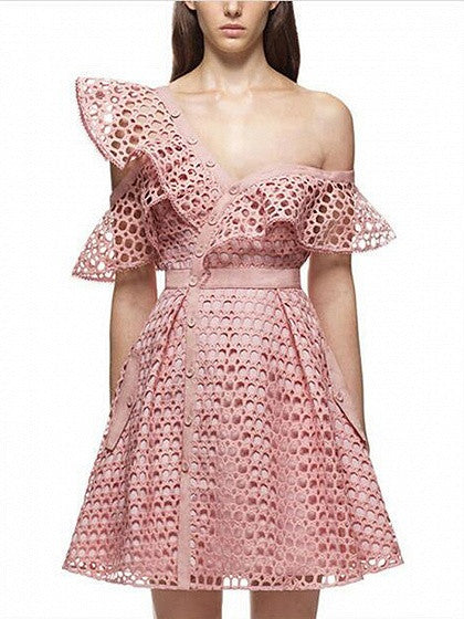 Pink Cutwork Lace Oblique Asymmetric Frill Skater Party Dress