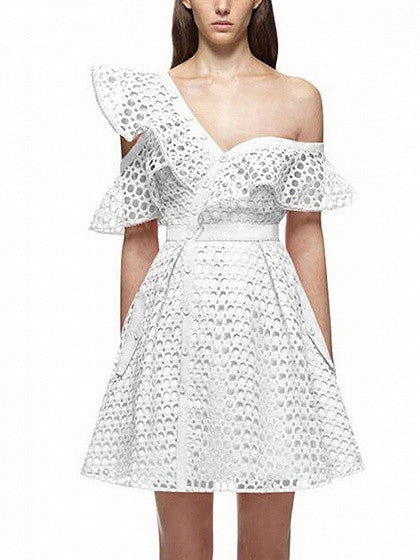 White One Shoulder Oblique Hollow Lace Asymmetric Frill Skater Dress