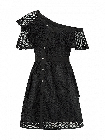 Black Cutwork Lace Hollow Asymmetric Frill Skater Dress
