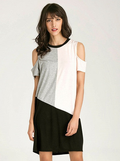 Color Block Cold Shoulder Short Sleeve Shift T-shirt Dress