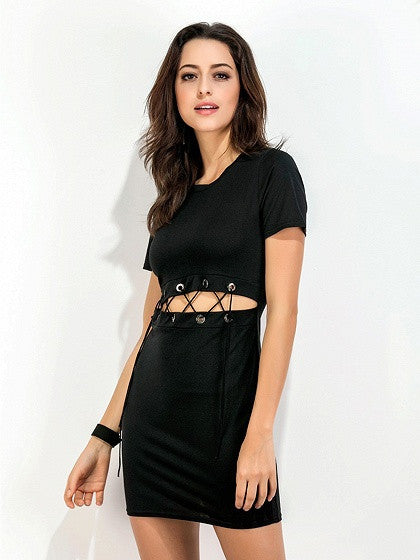 Black Short Sleeve Lace Up Open Belly T-shirt Dress