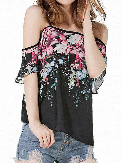 Polyechrome Floral Printed Cold Shoulder Spaghetti Strap Blouse