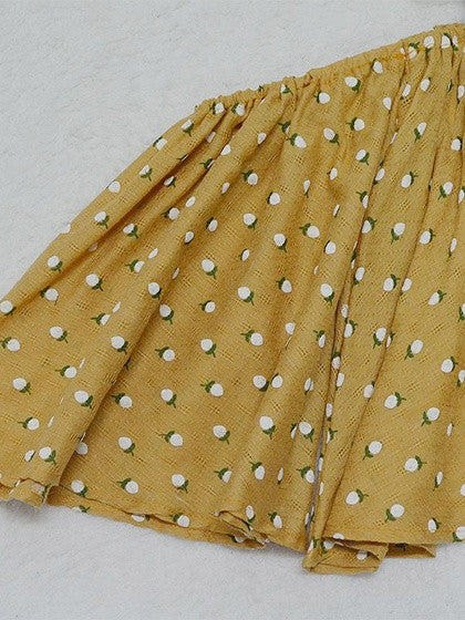 Yellow Off Shoulder Polka Dot Flared Sleeve Crop Top