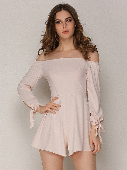 Pink Off Shoulder Bow Tied Long Sleeve Romper Playsuit