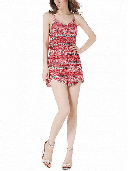 Red Folk Print Cami Romper Playsuit