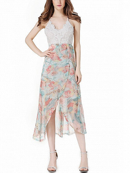 Floral Printed Backless Spaghetti Strap Crochet Lace Spliced Tulip Midi Dress