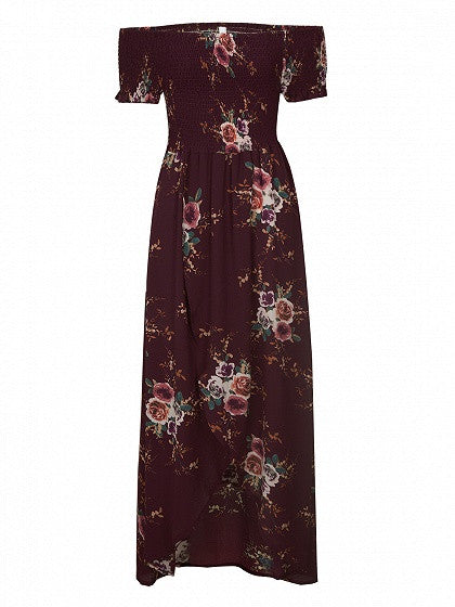 Burgundy Off Shoulder Floral Printed Tulip Beach Maxi Dress