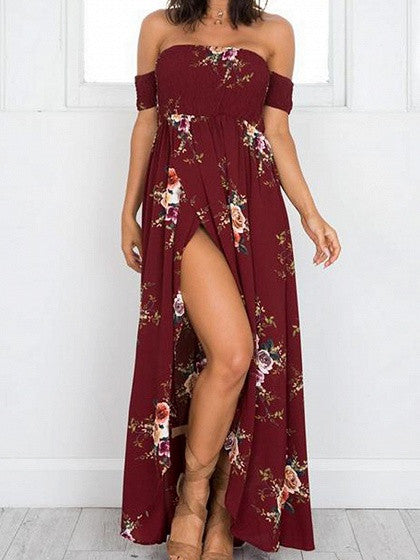 b4c00f435f563 Burgundy Off Shoulder Floral Printed Tulip Beach Maxi Dress