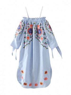 Blue Off Shoulder Embroidery Floral Bow Sleeve Shift Dress