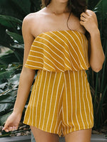 Orange Stripe Off Shoulder Ruffle Bandeau Romper Playsuit