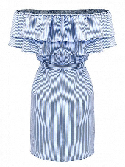 Blue Striped Off Shoulder Layered Ruffle Tie Waist Dress
